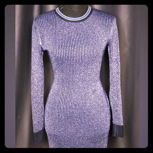 Navy Blue Glitter Long Sweater Dress